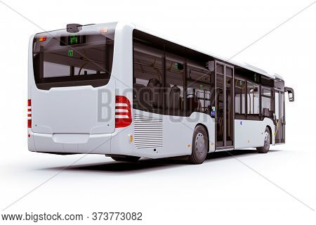 3d render of new city bus, on white background