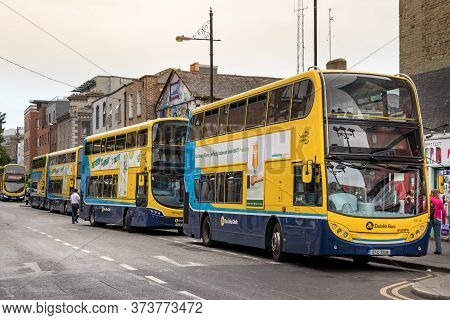 Dublin, Ireland - July 29th, 2019: A Double-decker Public Buses In Row In Dublin, Ireland.
