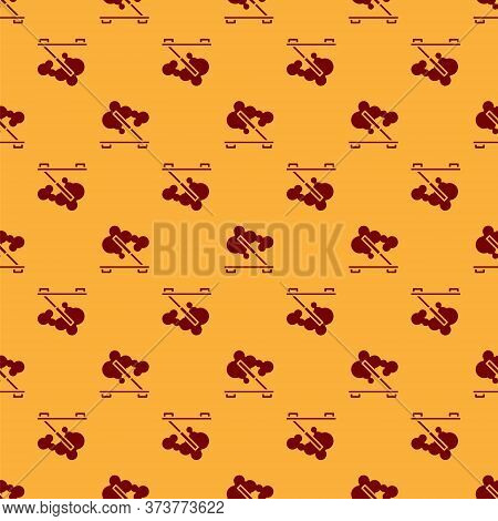 Red Scented Spa Stick On A Wooden Stand Icon Isolated Seamless Pattern On Brown Background. Incense