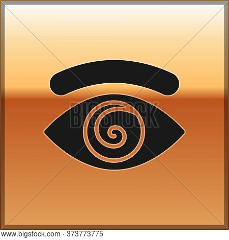 Black Hypnosis Icon Isolated On Gold Background. Human Eye With Spiral Hypnotic Iris. Vector
