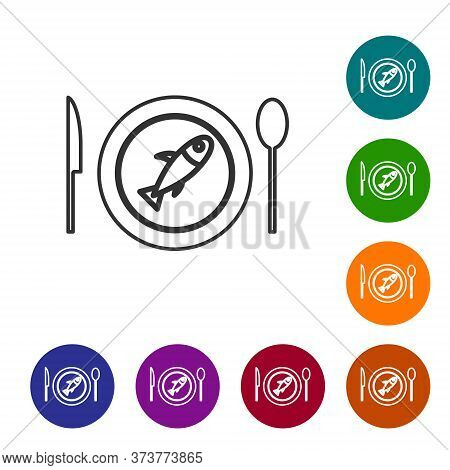 Black Line Served Fish On A Plate Icon Isolated On White Background. Set Icons In Color Circle Butto