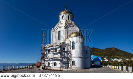 Petropavlovsk, Russia - September 15, 2019: View Of The Maritime Cathedral Under Construction Next T