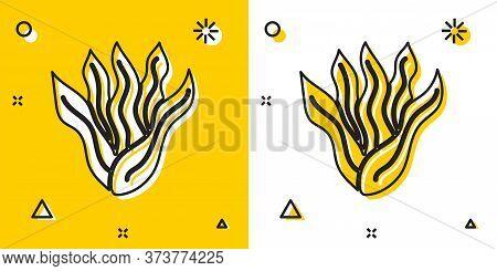 Black Seaweed Icon Isolated On Yellow And White Background. Underwater Seaweed Spirulina, Aquatic Ma
