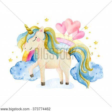 Isolated Cute Watercolor Unicorn And Flowers Clipart. Nursery Unicorns Illustration. Princess Unicor