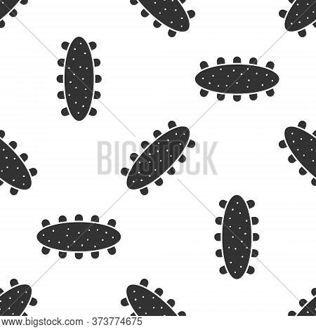 Grey Sea Cucumber Icon Isolated Seamless Pattern On White Background. Marine Food. Vector.