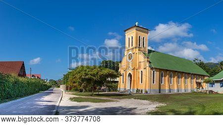 Panoramic View Of The Notre Dame De Lassomption Church In La Digue, Seychelles.
