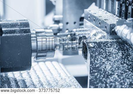 The  Multi-tasking Cnc Lathe Machine Swiss Type Drilling At The Brass  Shaft . The Hi-technology Met