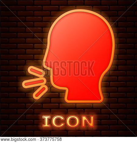 Glowing Neon Man Coughing Icon Isolated On Brick Wall Background. Viral Infection, Influenza, Flu, C
