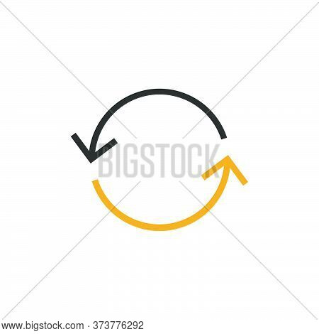 Two Spinning, Rotating Arrows. Interchange Repeat Round Icon. Stock Vector Illustration Isolated On