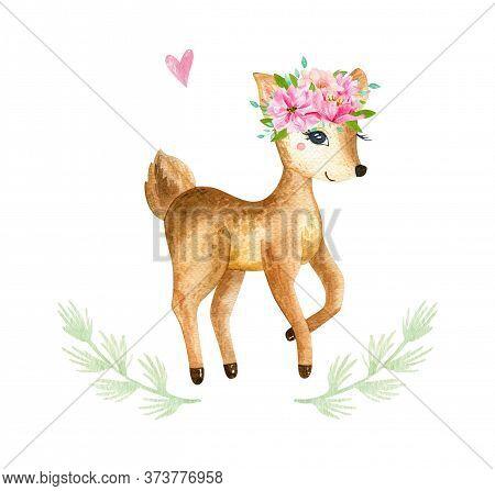Cute Baby Deer Animal For Kindergarten, Nursery Isolated Illustration For Children Clothing, Pattern