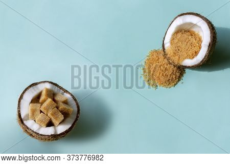Chopped Coconut Halves With Coconut Sugar Inside