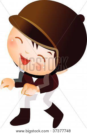 Boy in horsebacking riding costume