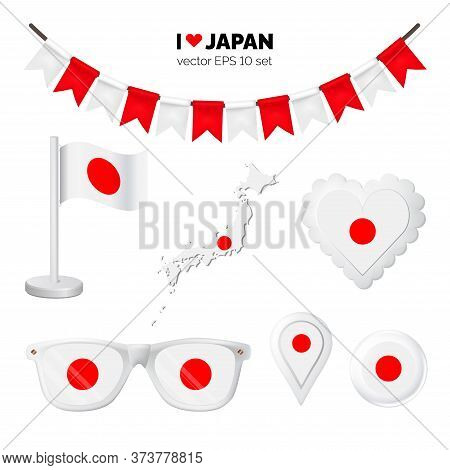 Japan Symbols Attribute. Heart, Flags, Glasses, Buttons, And Garlands With Civil And State Japan Col