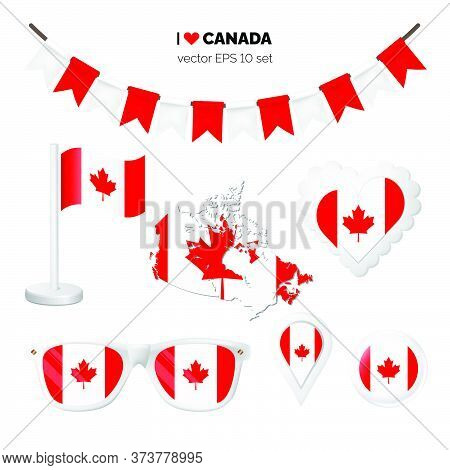 Canada Symbols Attribute. Heart, Flags, Glasses, Buttons, And Garlands With Civil And State Canada C