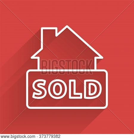 White Line Hanging Sign With Text Sold Icon Isolated With Long Shadow. Sold Sticker. Sold Signboard.