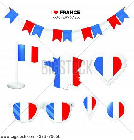 France Symbols Attribute. Heart, Flags, Glasses, Buttons, And Garlands With Civil And State France C