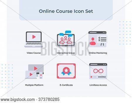 Preview Online Course Icon Set Video Course Interactive Group Online Mentoring Multiple Platform E-c