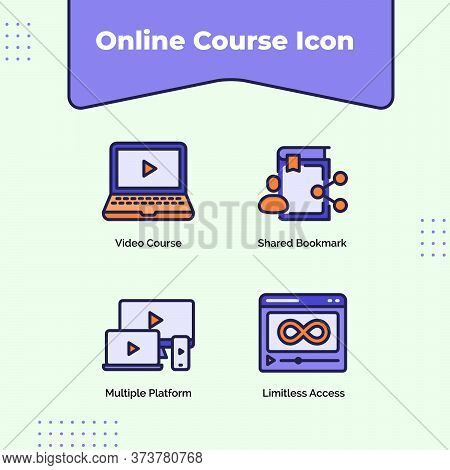 Preview Online Course Icon Video Course Shared Bookmark Multiple Platform Limitless Access With Outl