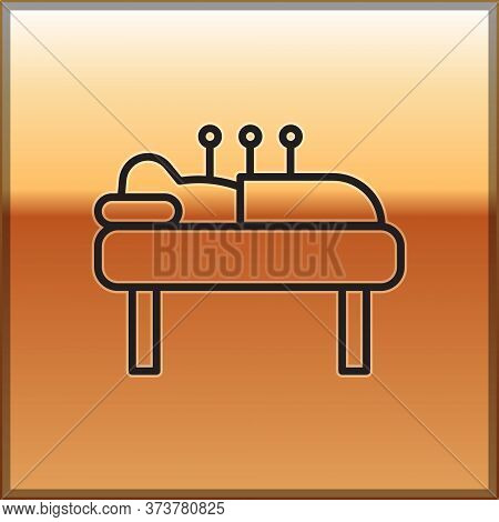 Black Line Acupuncture Therapy Icon Isolated On Gold Background. Chinese Medicine. Holistic Pain Man