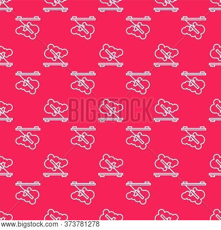 White Line Scented Spa Stick On A Wooden Stand Icon Isolated Seamless Pattern On Red Background. Inc