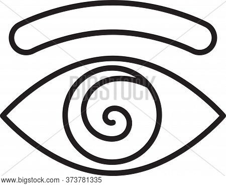 Black Line Hypnosis Icon Isolated On White Background. Human Eye With Spiral Hypnotic Iris. Vector