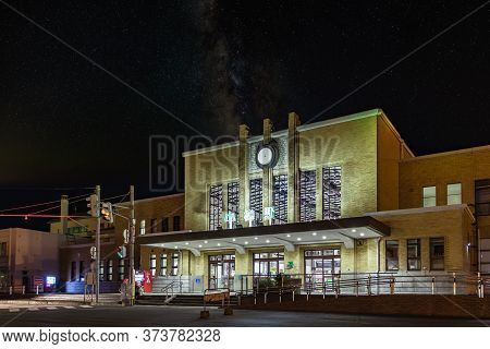Otaru, Japan - September 21, 2019: Night View Of The Entrance Of The Otaru Main Train Station In Hok