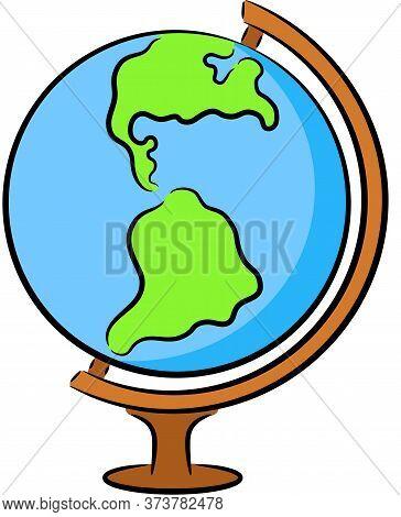 Illustration - Earth Globe, Isolated. Model Of School Earth Globe