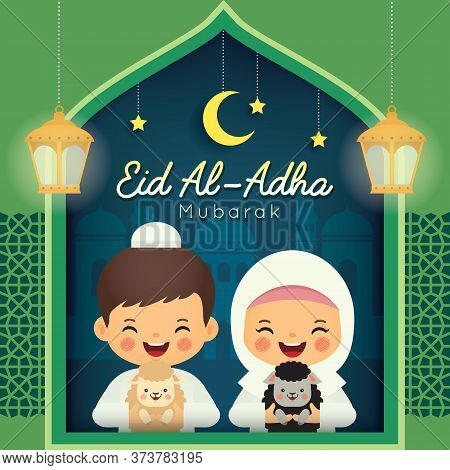 Eid Al Adha Mubarak Greeting Card. Cute Cartoon Muslim With Black Sheep And White Sheep, Fanous Lant