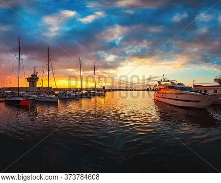 Yacht Port And Beautiful Sunset Over Varna, Bulgaria. Sailboat Harbor, Many Beautiful Moored Sail Ya