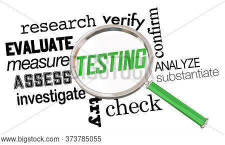 Testing Research Evaluation Magnifying Glass Analysis Words 3d Illustration