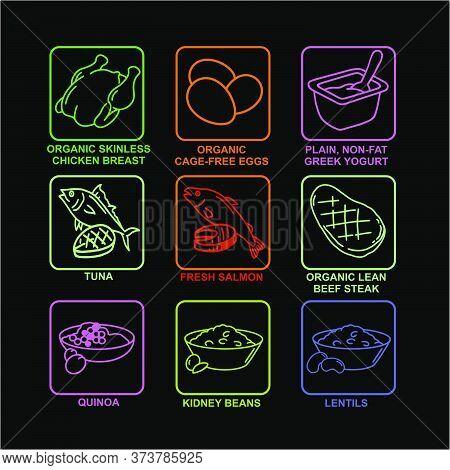 Set Of Neon Icons - Sport Nutrition Food - Quinoa, Salmon, Tuna, Chicken, Eggs And So. Vector Illust