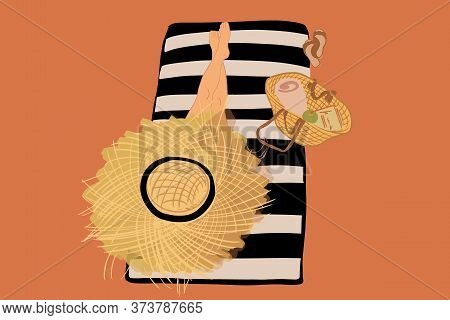 Woman In Straw Hat Lying On A Sunbed During A Summer Vacations, View From Above. Vector Illustration
