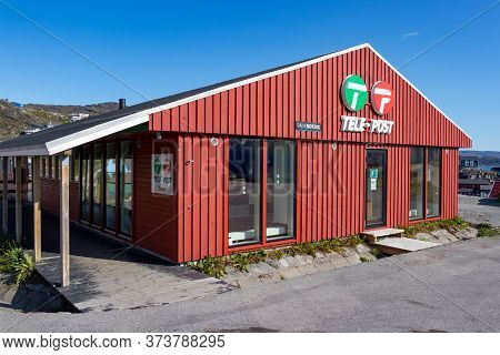 Qaqortoq, Greenland - August 14, 2019: The Tele-post Office In Qaqortoq, Greenland.