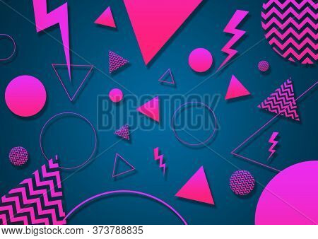 A Turquoise, Pink And Coral Retro Vaporwave 90's Style Random Geometric Shapes With Vibrant Neon Col