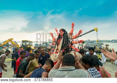 Kolkata, West Bengal, India - 30th September 2017 : Idol Of Goddess Durga Is Being Immersed At Holy