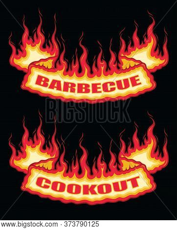 Barbecue Cookout Fire Flame Banner Bottom Arch Scroll Is An Illustration Of A Bottom Arch Flaming Sc