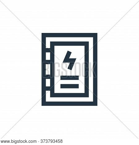 distribution board icon isolated on white background from electrician tools and elements collection.