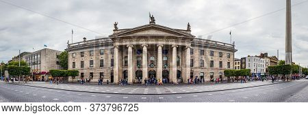 Dublin, Ireland - July 29th, 2019: Panoramic View Of The General Post Office Building In A Cloudy Da