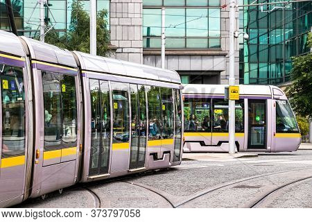 Dublin, Ireland - July 29th, 2019: The Tram Luas Direction Taliaght In Dublin, Ireland.