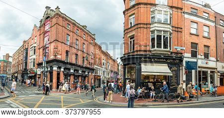Dublin, Ireland - July 28, 2019: Panoramic View Of The Butlers Chocolate Cafe And Commercial Center
