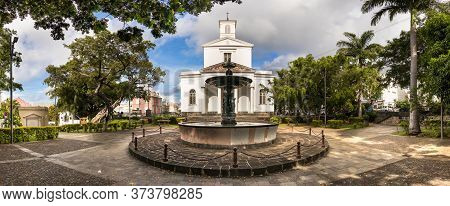 Panoramic View Of The St Denis Cathedral Located Next The Cathedral Fountain., Reunion Island.