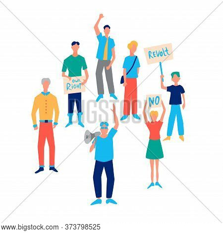 Protesting Cartoon People With Signs. Various Revolting Characters Isolated On White Background. Vec