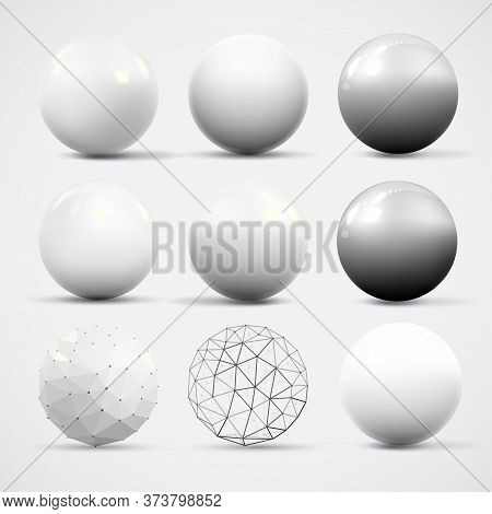 Set Of Various Realistic Three Dimensional White Spheres With Reflections And Shadows Isolated On Wh