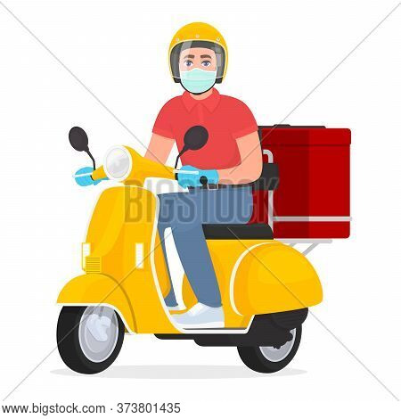 Courier Or Delivery Man In Face Mask And Gloves Riding Scooter. Young Person On The Moped Carrying F