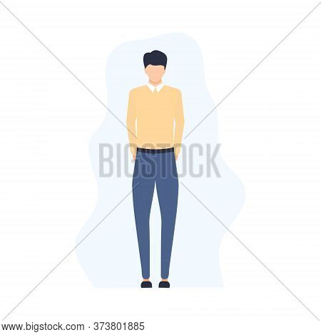 Disappointed Sad Young Man Standing Alone. Unsuccessful Businessman, Manager Or Worker In Flat Style