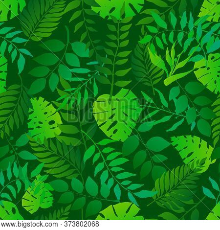 Green Natural Seamless Pattern With Natural Leaves. Bright Fresh Green Botanic Repetitive Pattern. V