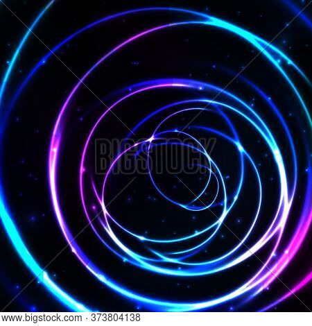 Abstract Cosmic Background With Glowing Light Circles. Shiny And Starry Circular Cosmic Frame In Blu