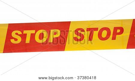 Strip With Written Stop Sign Against White Background