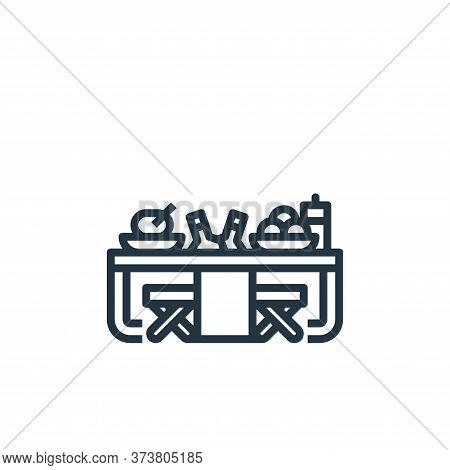 picnic table icon isolated on white background from camping collection. picnic table icon trendy and