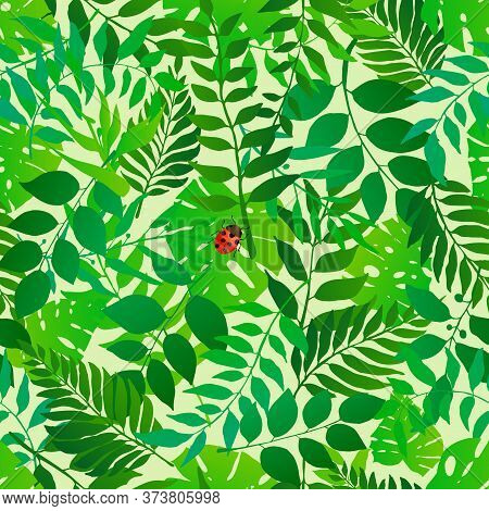 Green Natural Seamless Pattern With Natural Leaves And Bugs. Bright Fresh Green Botanic Repetitive P